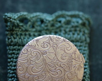 Green Witch Natural Solid Perfume in a Brass Compact - Sea Chypre Fragrance - An Offering to Tethys, Goddess of the Sea - Aquamarine Pouch