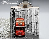 DOUBLE DECKER Bus Necklace London England - Scrabble Tile Pendant Jewelry - prettywhimsical
