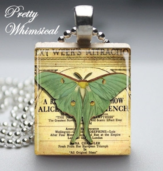 Scrabble Tile Jewelry - Luna Moth - Scrabble Tile Pendant