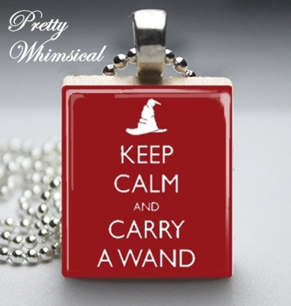 Black Friday / Cyber Monday FREE Shipping - Harry Potter Jewelry - Keep Calm And Carry A Wand - Scrabble Tile Pendant