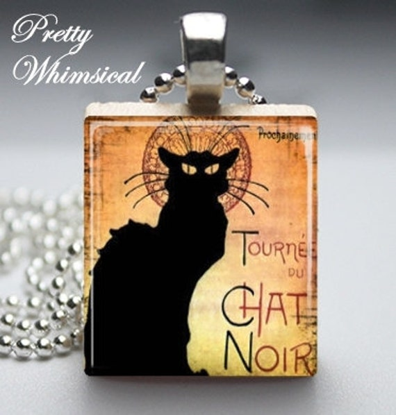 French Black Cat Poster, Scrabble Tile Pendant, Scrabble Jewelry