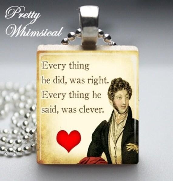 Jane Austen Jewelry - Sense And Sensibility quote Necklace - Scrabble Tile Pendant