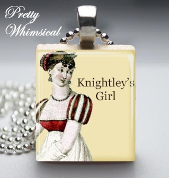 Jane Austen Jewelry - Knightleys Girl Necklace - Scrabble Tile Pendant