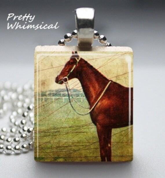 Vintage Race Horse equestrian - Scrabble Tile Pendant Jewelry