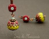 Meli olive & burgundy n'37- Earring dangle,polymer clay,glass,bead,cristal rhinestone,chic,colorful,copper