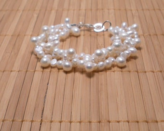 White Pearls MultiStrand Bracelet Freshwater Pearls Multistrand Bridal Pearls- Bridal Pearl Bracelet- Bracelet for Her- Bridal Set