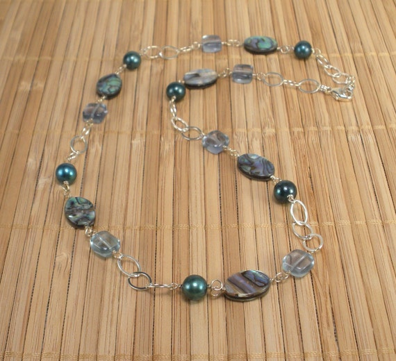 Pearls, Paua, Blue Green Silver Chain Necklace - Peacock Paua, Green Pearls, Flourite Necklace, Green Gemstone, Silver Teal Necklace