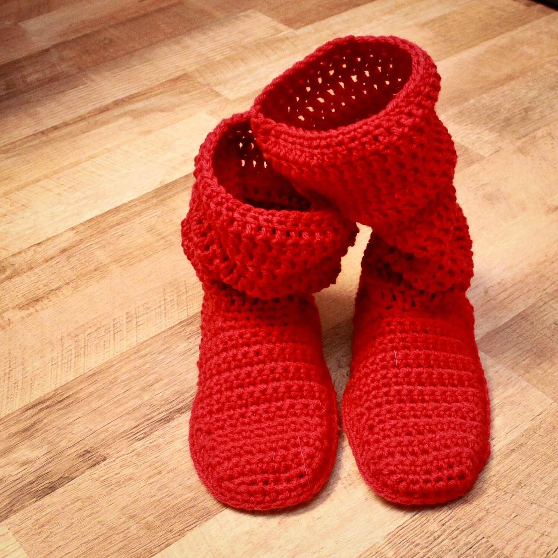 Crochet Slipper Pattern Mamachee Boots Adult Women Sizes