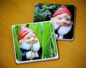 Gnome in Grass & Rhubarb Recycled Ceramic Tile Coasters (set of 2)