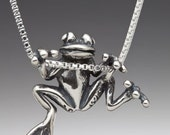 Frog Necklace Silver Cyber Sale  Frog Charm Frog Pendant Tree Frog Charm Frog Jewelry Silver Frog Hawaii Jewelry Cute Frog Animal Jewelry