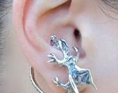 Dragon Ear Cuff Silver Dragon Whisperer Hoop Dragon Ear Wrap Game of Thrones Inspired Jewelry Non-Pierced Earring Fashion Ear Cuff Ear Hoop