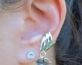 Four Leaf Clover Ear Cuff Chevron Silver - Four Leaf Clover Charm - Non-Pierced Earring Clover Earring Shamrock Jewelry Shamrock Earring