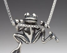 Frog Necklace Silver - Frog Charm Frog Pendant - Tree Frog Charm - Frog Jewelry - Silver Frog - Hawaii Jewelry - Cute Frog Animal Jewelry