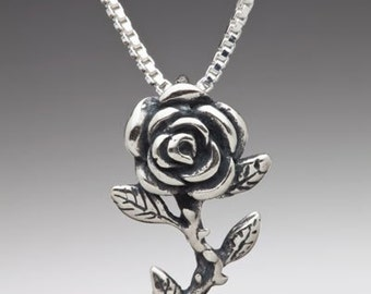 Rose Necklace Rose Charm Rose Pendant - Sterling Rose Silver Rose - Flower Charm Flower Jewelry
