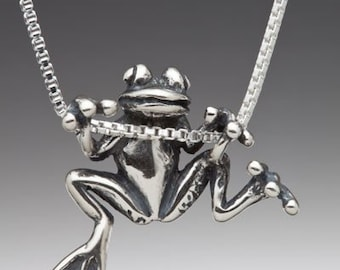 Frog Necklace Silver Animal Jewelry Frog Charm Frog Pendant Tree Frog Charm Frog Jewelry Silver Frog Hawaii Jewelry Cute Frog Animal Jewelry