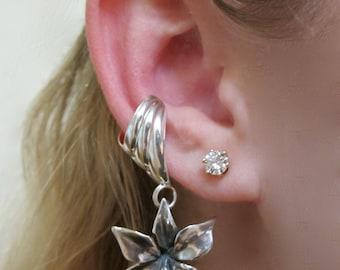 Flower Ear Cuff Silver - Flower Earring - Orchid Ear Cuff Chevron - Flower Jewelry Orchid Jewelry - Non-Pierced Earring Dangle Ear Cuff