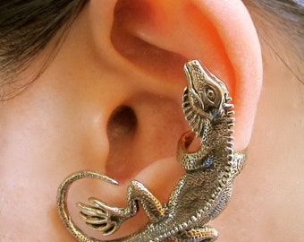 Lizard Ear Cuff Bronze - Iguana Ear Cuff - Lizard Earring - Lizard Jewelry - Iguana Earring - Iguana Jewelry - Non Pierced Ear Cuff