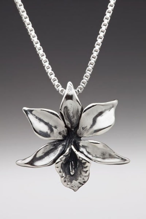 Flower Necklace Silver - Orchid Necklace Orchid Charm - Flower Charm Flower Pendant - Silver Flower - Flower Jewelry Orchid Jewelry