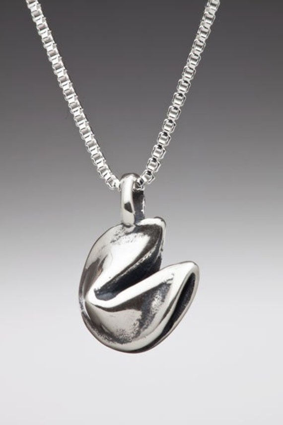 Fortune Cookie Necklace Silver - Fortune Cookie Charm - Cookie Jewelry Cookie Necklace - Silver Charm