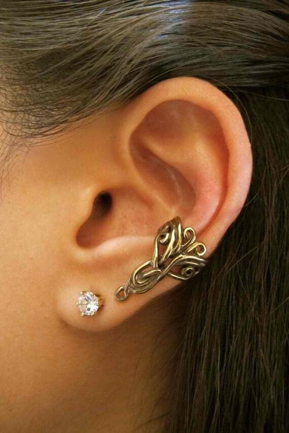 Ear Cuff Bronze Swirl Ear Cuff  Arabesque Ear Cuff Celtic Jewelry Non Pierced Earring Non Pierced Ear Cuff Minimalist Ear Cuff Fashion