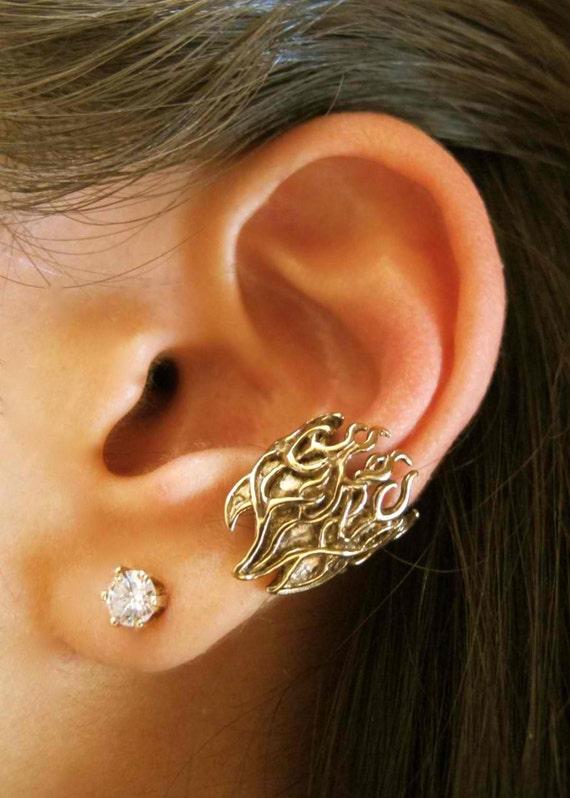 Fire Ear Cuff Bronze Flame Ear Cuff - Fire Jewelry Flame Jewelry - Biker Jewelry - Fire Earring Flame Earring - Non Pierced Earring Ear Cuff