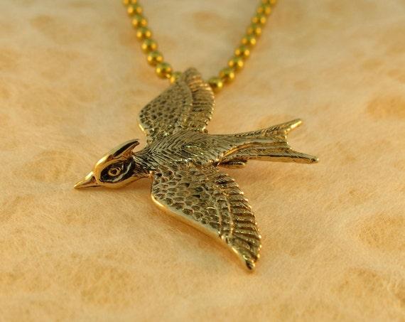 Bird Necklace Bird Charm Bird Jewelry Bronze Mocking Jay Necklace Wing Jewelry Wing Necklace Animal Necklace Wing Jewelry Feather Jewelry
