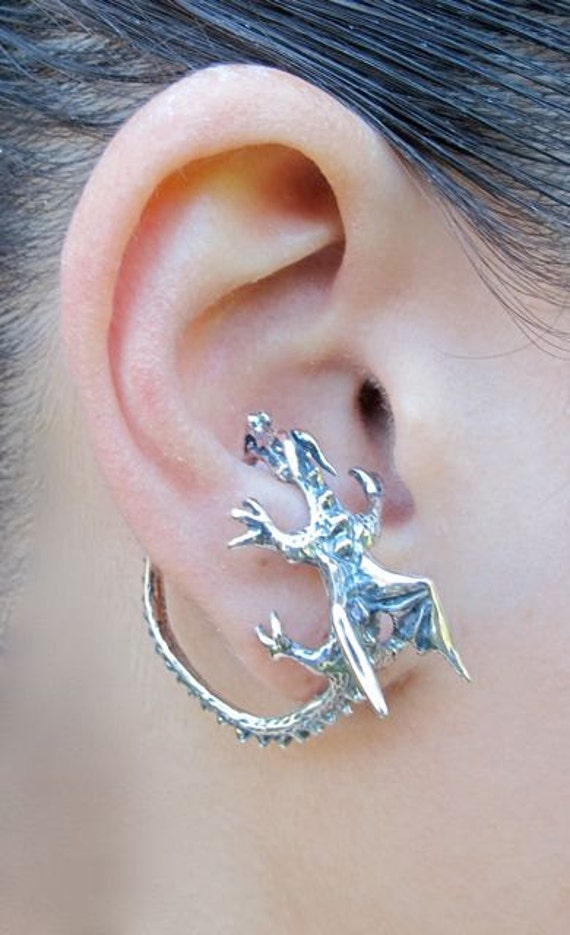 Dragon ear cuff silver dragon whisperer hoop dragon ear wrap - Game of thrones dragon ear cuff ...
