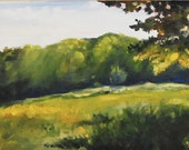 Landscape Painting, Original Oil Painting, Longwood Meadow in Late Summer, Green