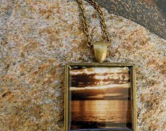 Cool Sunset Necklace - Sepia Tone - Antique Bronze Pendant