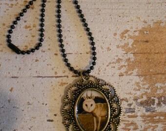 Steampunk Art Pendant ,Odd Owl image , Antiqued Brass Victorian Style,Sepia