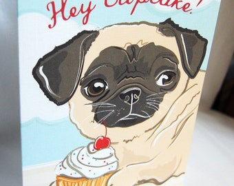Fawn Pug 'n Cupcake Greeting Card