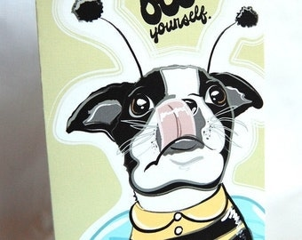 Boston Terrier Bee Greeting Card