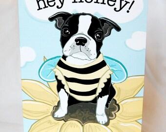 Boston Terrier Honeybee Greeting Card