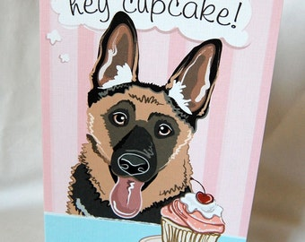 German Shepherd Cupcake Greeting Card