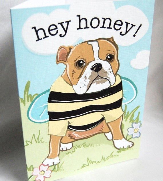 Bulldog Bee Greeting Card