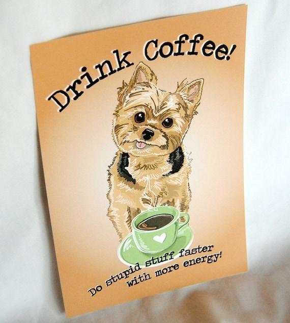 Coffee Yorkie - 5x7 Eco-friendly Print