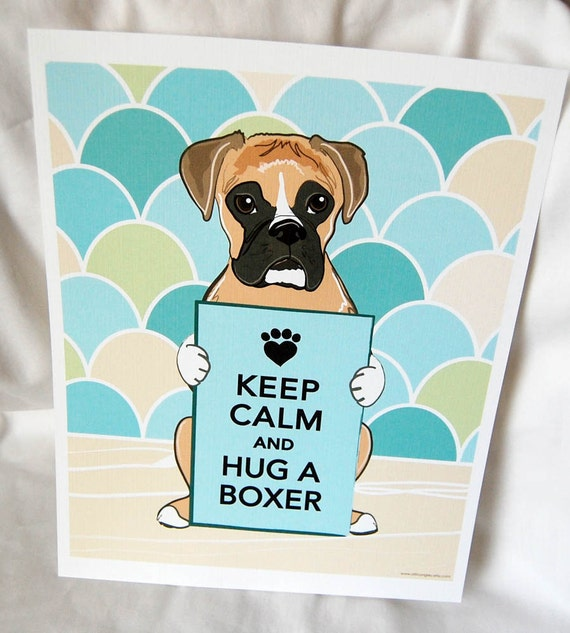 Keep Calm Boxer with Scaled Background - 8x10 Eco-friendly Print