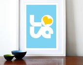 Typography poster print retro love graphic design font kitchen art office - Biglove Summer A3 blue yellow