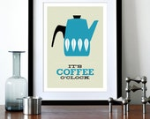 Cathrineholm poster print Cathrineholm Mid Century modern retro kitchen art coffee tea - It's Coffee O'clock A3