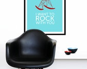 Eames poster print Mid Century Modern retro Herman Miller rocker chair nursery kitchen art office - I Want To Rock With You Red 50 x 70cm