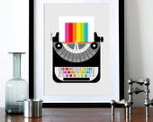 Rainbow typewriter poster print Mid Century Modern office retro vintage typewriter kitchen art - Rainbow Writer A3