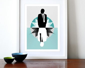 Retro poster print  Mid Century Modern Eames office kitchen art - Mad Men Aqua A3