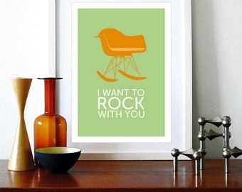 Eames poster print - I Want To Rock With You Orange- A3  Eames chair rocker Mid Century Modern Herman Miller lounge home