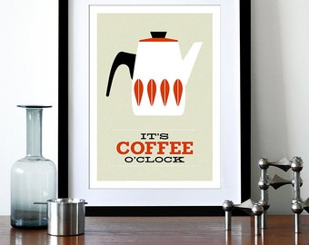 Cathrineholm poster print Mid Century modern home art for kitchen art tea coffee poster - It's Coffee O'clock A3 Red