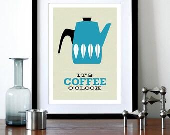 Cathrineholm poster print Cathrineholm Mid Century modern retro kitchen art coffee tea - It's Coffee O'clock A3