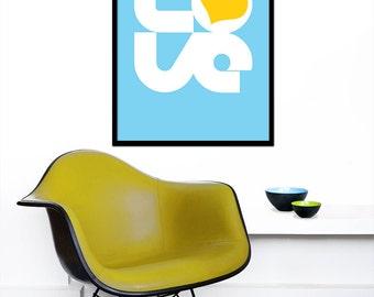 Typography poster print love - Biglove - Summer 50x70cm