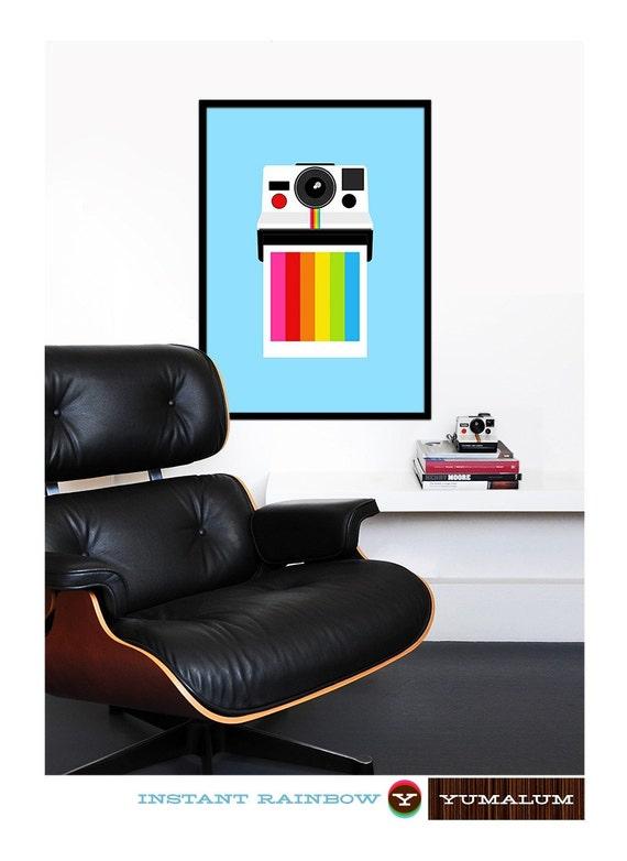 Polaroid poster print vintage retro camera photography mid century modern office kitchen art nursery  - Instant Rainbow 2 - 50 x 70 cm