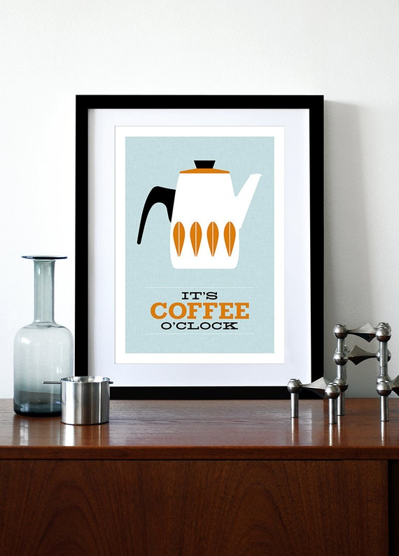 Cathrineholm poster print Catherineholm Mid century modern home art for kitchen coffee tea  - It's Coffee O'clock- Orange A3