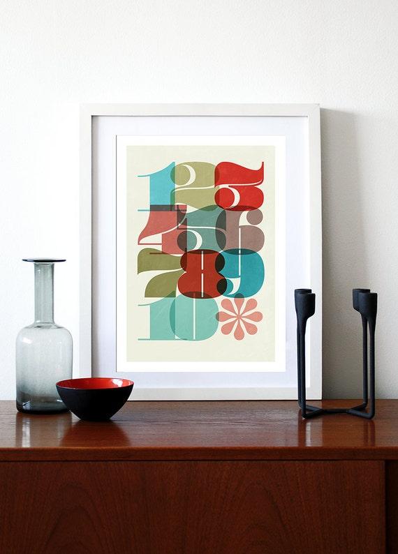 Typography poster print retro nusery art kitchen art children's vintage bedroom numbers -1 To 10 - A3