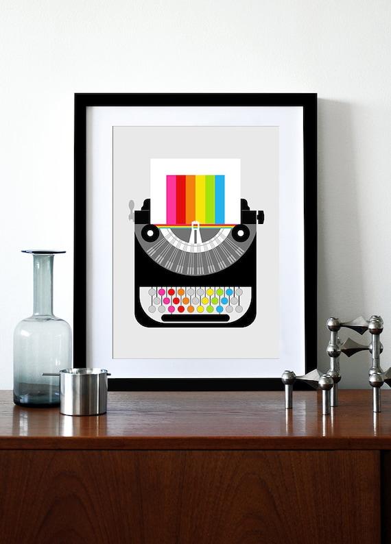 Rainbow typewriter poster print Mid Century Modern office retro vintage typewriter kitchen art nursery art - Rainbow Writer A3